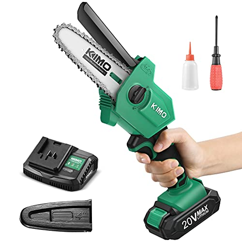 Mini Chainsaw - KIMO 5'' Cordless Battery Powered Chainsaw, 2lbs Lightweight w/ 20V 2.0Ah Battery&Charger, 13.2ft/s Speed, One-Handed Electric Chain Saw for Garden Farm Tree Trimming Wood Cutting