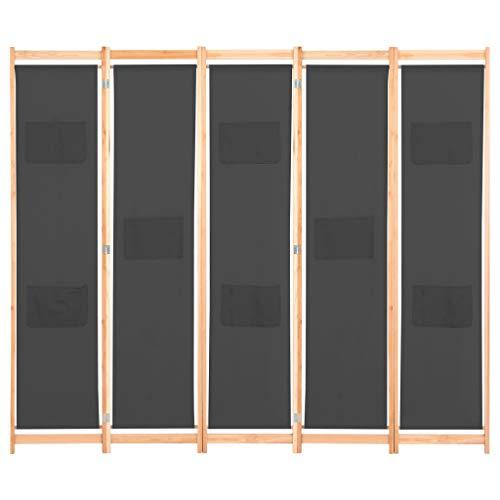 mewmewcat Biombo Divisor de Habitaciones Plegablede 5 Paneles 200x170x4 cm Gris