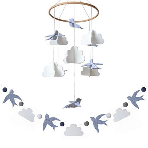 Sorrel + Fern Baby Crib Mobile Birds in The Clouds w/Garland Nursery Decor Baby Shower Gift