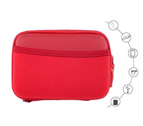 Preisvergleich Produktbild Kleine Hartschalen-Reisetasche für externe Festplatte mit 1 TB,  2 TB,  3 TB,  4 TB,  5 TB,  externe Festplatte,  Powerbank,  verschiedene USB-Kabel,  Kopfhörer,  SD-Speicherkarte,  Handyhalter (rot)