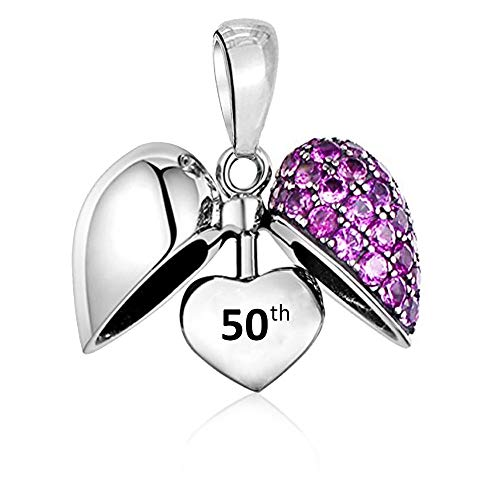 LSDesigns 50th Love Heart Charm Bead - S925 Sterling Silver fits Pandora Charms for Women Moments Snake Chain Bracelet 50 - Happy Birthday Gift boxed