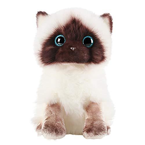 Plush Toys Super Cute Simulation Kitty Doll Plush Siamese Cat Dolls Stuffed Animals Toys Cute Puppet Cat Doll Simulation Siamese Cat Cute Sequins Plush Cat Animal Baby Doll for Boys and Girls