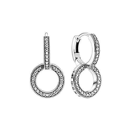 Pandora Pendientes dobles brillantes en plata.