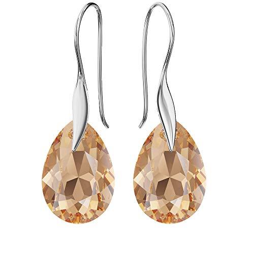 Pendientes de plata de ley 925 con cristales de Swarovski – pera – Light Colorado Topaz – Gancho para mujer – Hermosa joya para mujer con caja de regalo