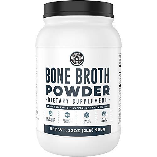 Bone Broth Powder, 2lb Pure Grass Fed Beef Bone Broth Protein Powder. Unflavored, Contains Collagen, Glucosamine & Gelatin, Paleo Protein Powder, Keto, Gut-Friendly, Non-GMO, Dairy Free. 32oz