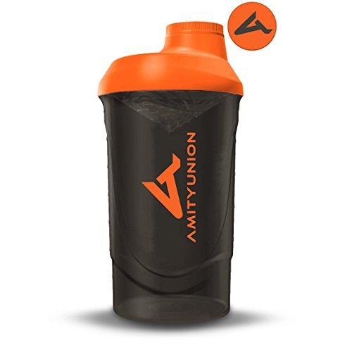 Protein Shaker Deluxe 800 ml - Eiweiß Shaker auslaufsicher - BPA frei mit Sieb & Skala für Cremige Whey Proteinpulver Shakes - Gym Fitness Becher für Isolate und Sport Konzentrate - Schwarz Orange