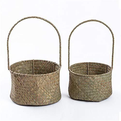 Un conjunto de canasta de flores de mango de algas, 2-S / L de 2-S / L jardín de tejido de tejido en maceta decoración, cesta de almacenamiento Pote de flores de almacenamiento al aire libre interior
