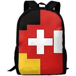 Bandera Suiza austríaca Alemana Bolsa de Hombros al Aire Libre Mochila de Tela Mochilas Multiusos para Adultos