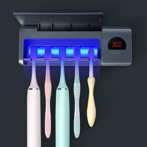 DSHOW Spazzolino Igienizzante UV per Spazzolino da Denti da Bagno, Montaggio a Parete Sterilizzatore, Carica 2000mAh, Funzione di Cronometraggio, Organizer per Spazzolino da Denti (Grigio)
