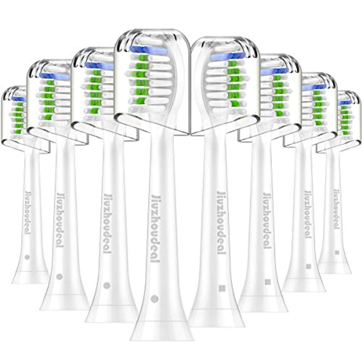 Replacement Brush Heads Compatible with Sonicare Electric Toothbrush DiamondClean, HealthyWhite, FlexCare, EasyClean, Essence+, PowerUp, 8 Pack by Jiuzhoudeal