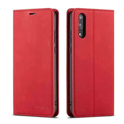 QLTYPRI Hülle für Huawei P20, Premium Dünne Ledertasche Handyhülle mit Kartenfach Ständer Flip Schutzhülle Kompatibel mit Huawei P20 - Rot