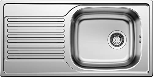 """BLANCO Magnat, Küchenspüle, reversibel, Edelstahl Naturfinish / mit 3 1/2"""" Korbventil - ohne Ablauffernbedienung; 511916"""