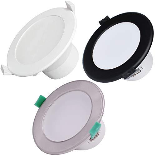 Lot de 6 Lamparas Focos LED Empotrables,Led Empotrable Techo Redondo,IP44 Downlight LED 10W/12W/16W Regulable Iluminación,Garantía de 3 año (Cromo Satinado,Recorte de 10W 70mm—5000K(Luz diurna Blanca)