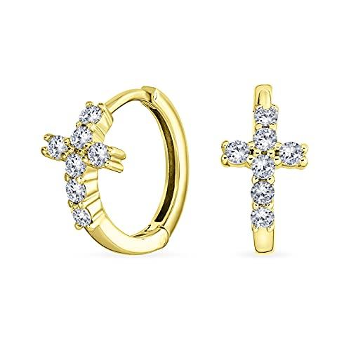Espiritual pequeño religioso Kpop CZ Cruz Huggie pequeños pendientes de aro para las mujeres para los hombres Pave Cubic Zirconia amarillo 14K oro .925 plata esterlina