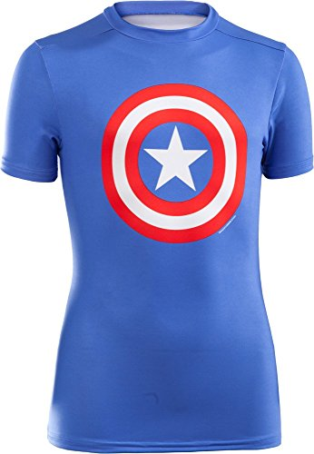 Under Armour, Boy'S Ua Alter, Maglietta A Maniche Corte, Bambino, Blu (Ss13 Marvel Captain America 402), XL