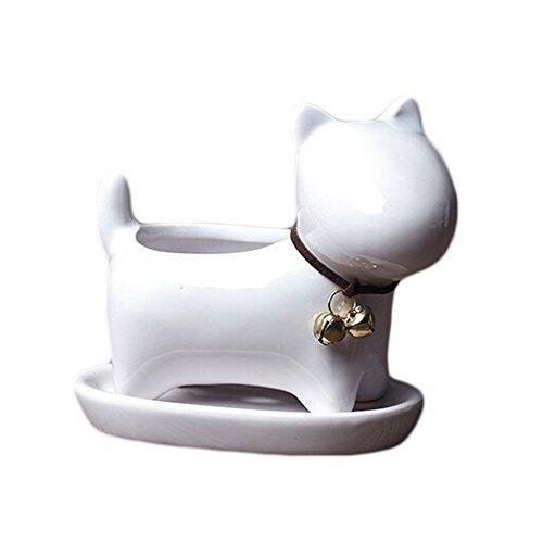 UPERE Sukkulenter Blumentopf, weiß, Keramik, Hund mit Glocke