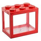 Acrílico Mini Tanque de Pescados, de Escritorio Micro-Paisaje LED del Tanque de Pescados, Acuario Kit, Building Blocks Superpuesta Fish Tank, Rojo