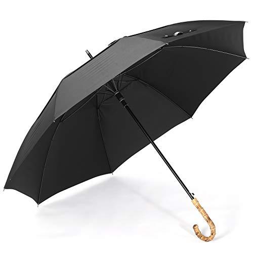"ZEKAR Wooden J-Handle Umbrella, 54/62 / 68 inch, UV & Classic Versions, Large Windproof Stick Umbrella, Auto Open for Men and Women Golf Umbrella (Premium-300T-black with Bamboo Handle, 54"")"