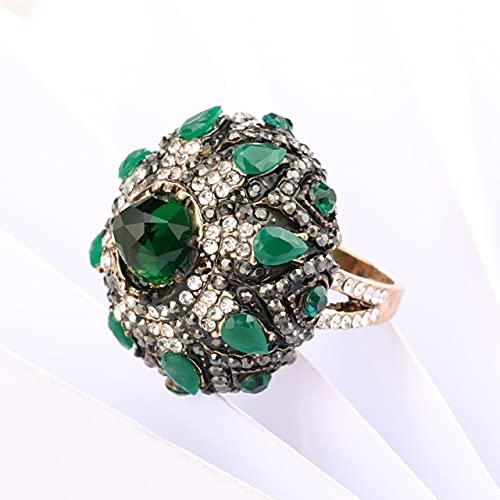 Tiny Anillos únicos de Piedra Verde Natural para Mujer, Anillo Grande de Flor de Cristal Dorado Antiguo Vintage, joyería turca