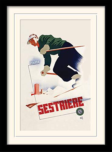 Sestriere Italia Vintage Annuncio Montato e Stampa con Cornice, 30x 40cm