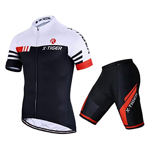 X-TIGER Men's Summer Short Sleeve Cycling Suits Set Cycling Jersey with 5D Gel Padded Shorts Coolmax Bib Shorts Bicycle Team Clothing Cycling Set(A15,XXL)