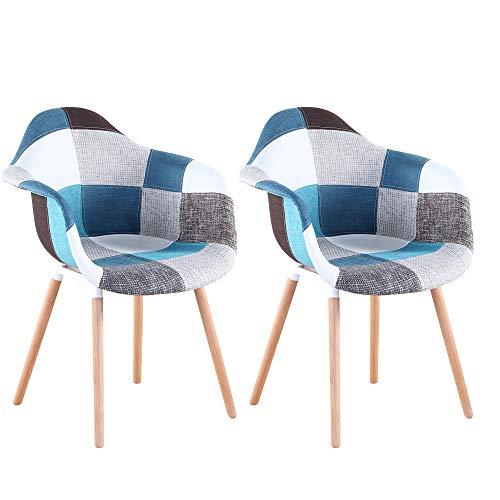 3327 Juego de 2 sillas clásicas estilo retro con asiento acolchado y reposabrazos (azul)