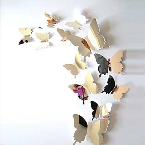ufengke 12 Pezzi 3D Farfalle Adesivi Murali Fashion Design DIY Farfalla Arte Adesivi da Parete Artigianato Decorazione Domestica, Effetto Specchio