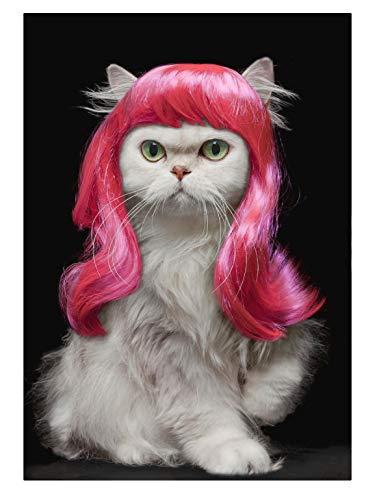 Diy Puzzle 1000 Stück, Puzzles für Erwachsene, Puzzles für Kinder Lernspielzeug für Kinder, Geschenk, weiße Katze mit pinkfarbener Perücke,75x50cm