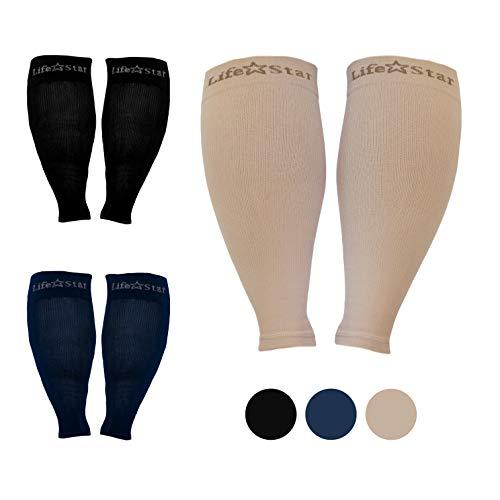 LifeStar - Mangas de compresión de pantorrilla ancha XXL, cómodo apoyo degradado, evita la hinchazón, dolor, edema, DVT, para mujeres, hombres, enfermeras, vuelos, puños grandes elásticos a 26.0in (beige)