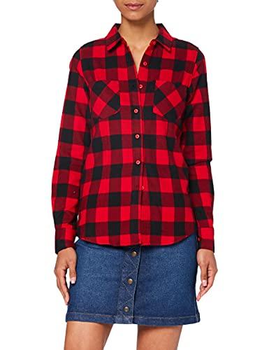 Urban Classics Ladies Checked Flanell Shirt, Camicia Donna, Mehrfarbig (blk/red 44), 36 Inches (taglia Produttore: S)