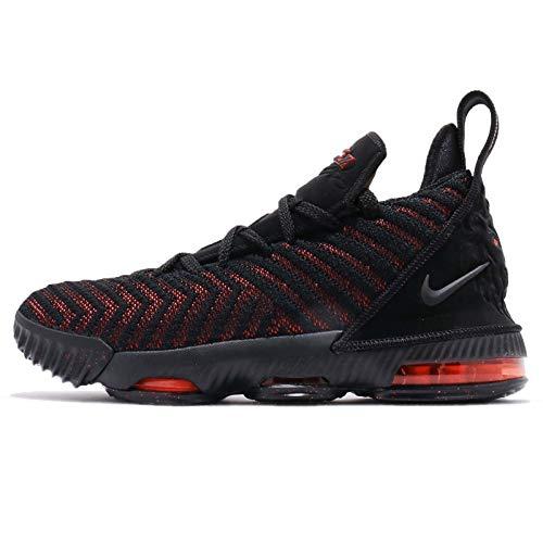 Nike Kid's Lebron XVI (GS) Basketball Shoes (Black/Black-University RED, Numeric_4)
