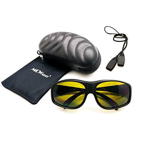 MCWlaser Gafas protectoras de seguridad láser Gafas 190-450 y 800-2000nm Típico para 355nm 405nm 445nm 450nm 808nm 980nm 1064nm 1085nm 1320nm 1342nm 1470nm 1550nm Tipo de absorción EP-5 Estilo 9