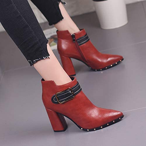 HOESCZS Bottes Femmes Wohommes Studded Thick with Martin bottes Autumn and Winter New Simple Belt Buckle Pointed High Heels Female Wild Short