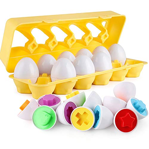 Matching Eggs - Toddler Toys - Color Shapes Matching Egg Set -...