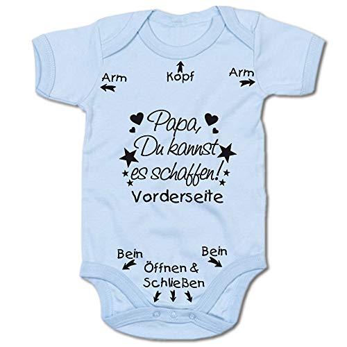 G-graphics Papa Du Kannst es schaffen! Baby Body Suit Strampler (250.0211) (0-3 Monate, Blau)