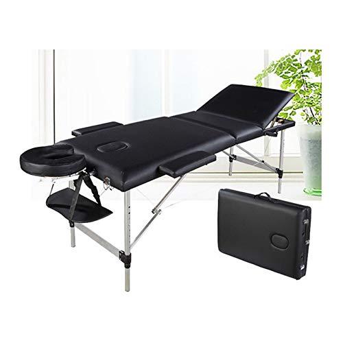 Massagetisch Höhenverstellbar Massageliege Massagebank Mobile Kosmetikliege Klappbar Leicht Tragbar 3 Zone Aluminium-Füßen mit einer Tragetasche (bis 230kg belastbar) -Schwarz