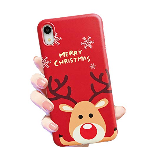 HUIYCUU Case for iPhone XR Case 6.1', Merry Christmas Shockproof Cute Pretty Design Flexible Rose Pattern Slim Soft Bumper Gifts Girl Women Cover Compatible with iPhone Xr,Deer Red