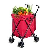 SUOMO Einkaufstrolley Klappkartonwagen, Einkaufswagenwagen auf Rädern zusammenklappbare Kiste Kastenwagen for Gartenhaus Küche Lagerkäufer, 82 l (Color : Red)