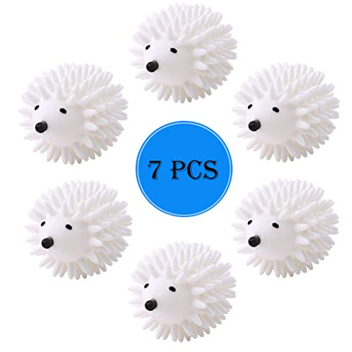 7 Pack Hedgehog Dryer Balls Reusable Laundry Dryer Balls Anti Static Eco Friendly Plastic Washing Ball Wrinkles Remover Dryer Sheets Wool Fabric Softener Alternative (White)