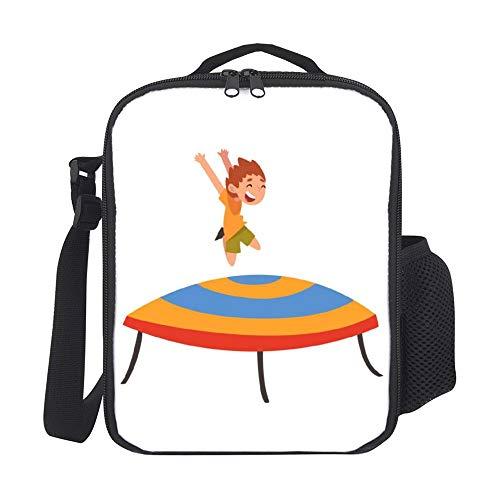 happygoluck1y schattig jongen springen op trampoline gelukkig klein kind moderne lunchtassen met schouderriem geïsoleerde lunchbox tassen voor vrouwen voor kinderen meisjes
