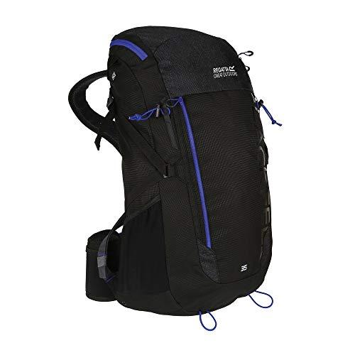 Regatta Blackfell III Reflective Hardwearing Travel Hiking Backpack - Black/Surfspray, 35 Litre