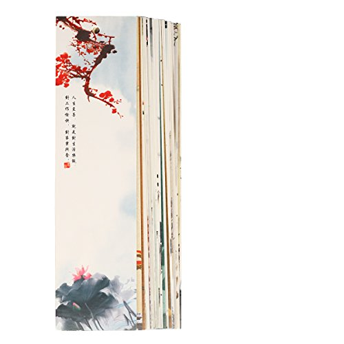 Twone Chinese Brush Paintings Bookmark Set with 30 Bookmarks Featuring Colorful Chinese Scenes