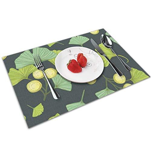WITTN Donkergroen en lichtgroen ventilator bladen Placemat wasbaar anti-slip voor keuken diner tafelmat, gemakkelijk te reinigen PVC Placemat 12x18 inch Set van 4