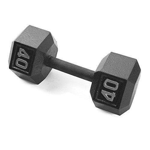 CAP Barbell Cast Iron Hex Dumbbell, Black, Single, 40 lb