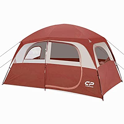 CAMPROS Tent-6-Person-Camping-Tents, Waterproof Windproof Family Tent with Top Rainfly, 4 Large Mesh Windows, Double Layer, Easy Set Up, Portable with Carry Bag, for All Seasons - Red