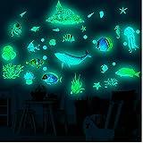 NIDONE Pegatinas de Pared Luminosa Que Brilla en Techo Oscuro Calcomanías Océano Mundial decoración de la Pared para los niños