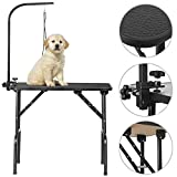 YAHEETECH 32-inch Portable Pet Dog Grooming Table w/arm/Noose Black