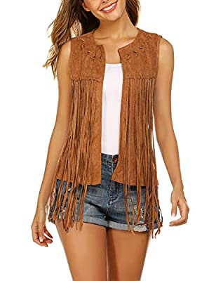 Hotouch Women's Fringe Vest Faux Suede 70s Hippie Costumes Open Front Sleeveless Western Vests Cardigan Top Brown S