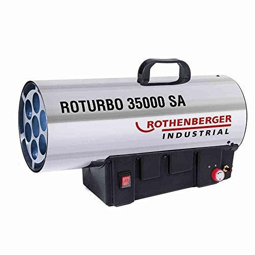 ROTHENBERGER 1500000364 Industrial Gas – Heiz – Kanone / Gebläse RoTurbo 35000 SA inkl. Piezo-Zündung , Schlauch , Schlauchbruchsicherung & Regler 34,0 kW, regelbar