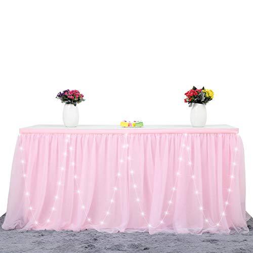 HBBMAGIC Tüll Tischrock LED Tischdecke Rosa Tütü Tischröcke Party Deko Für Hochzeit, Geburtstag, Candy Bar, Weihnachten (Rosa-LED, 183cm*76cm)